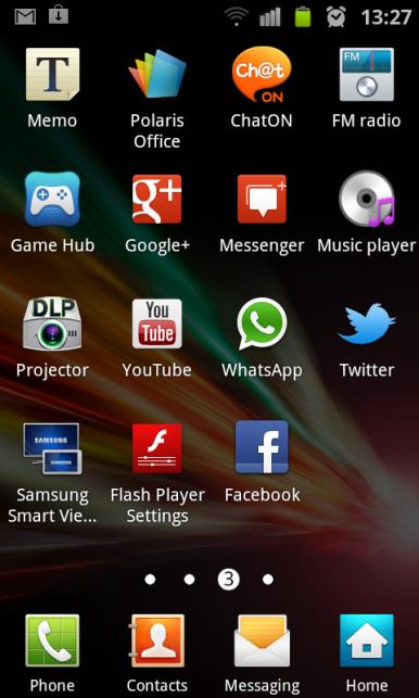Samsung Galaxy Beam koristi Touchwiz inerfejs, a projektor ima zasebnu aplikaciju