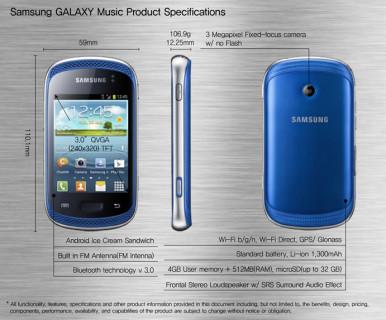 Za sada su obelodanjeni samo pojedini detalji specifikacije modela Galaxy Music