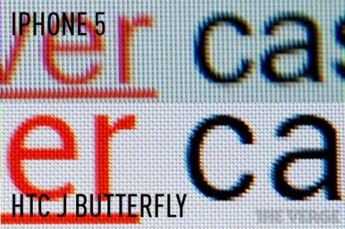 Poređenje ekrana modela HTC J Butterfly i iPhone 5