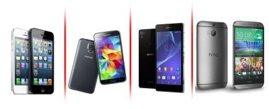 Apple iPhone 5S vs HTC one M8 vs Samsung Galaxy S5 vs Sony Xperia Z2 1