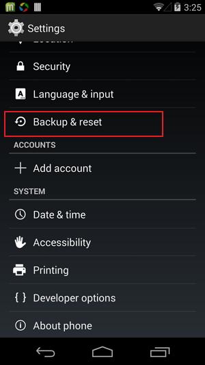 "Pronađite opciju ""Backup and reset"""